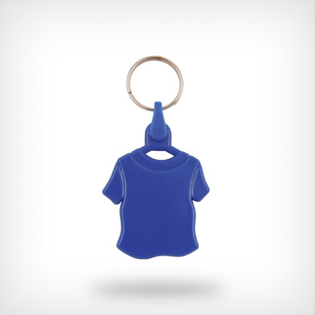 Plastic shirt sleutelhanger blauw