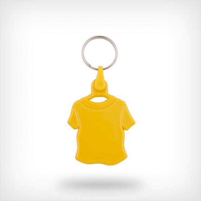 Plastic shirt sleutelhanger geel
