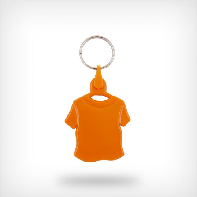 Plastic shirt sleutelhanger oranje